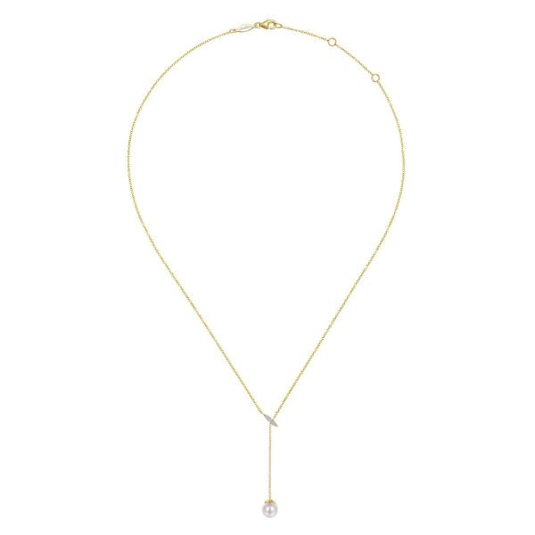 Yellow Gold Diamond Bar Y Necklace with Cultured Pearl Drop Image 2 SVS Fine Jewelry Oceanside, NY