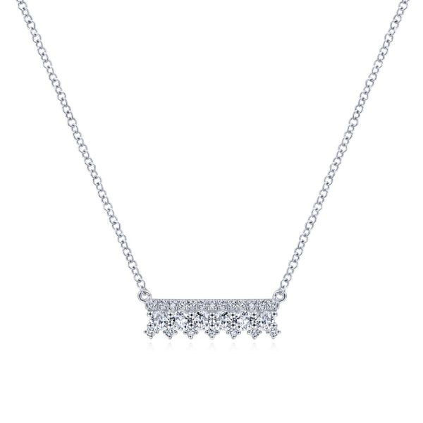 White Gold Mini Diamond Bar Necklace SVS Fine Jewelry Oceanside, NY