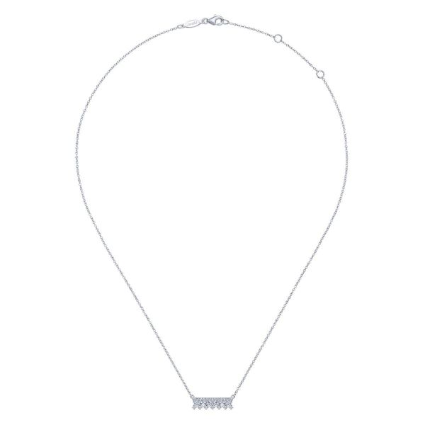 White Gold Mini Diamond Bar Necklace Image 2 SVS Fine Jewelry Oceanside, NY