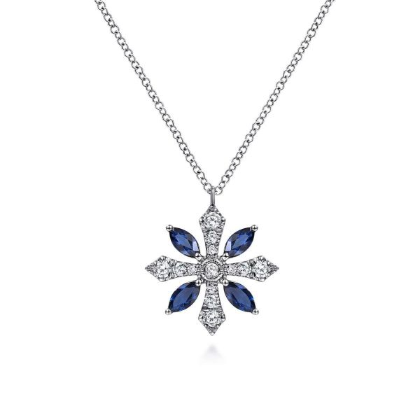 White Gold Sapphire and Diamond Snowflake Pendant Necklace SVS Fine Jewelry Oceanside, NY