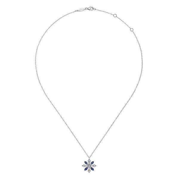 White Gold Sapphire and Diamond Snowflake Pendant Necklace Image 2 SVS Fine Jewelry Oceanside, NY