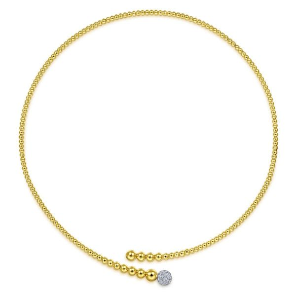 Yellow Bujukan Bead Collar Necklace with White Gold Diamond Pavé Ball Image 2 SVS Fine Jewelry Oceanside, NY