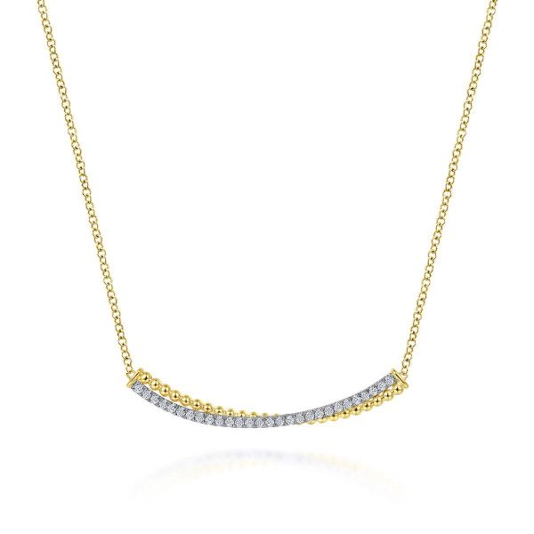 Yellow-White Gold Bujukan Bead and Diamond Pavé Curved Bar Necklace SVS Fine Jewelry Oceanside, NY