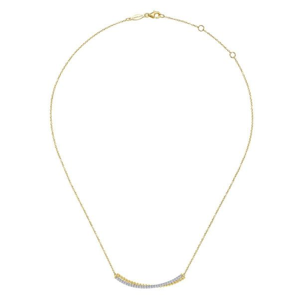 Yellow-White Gold Bujukan Bead and Diamond Pavé Curved Bar Necklace Image 2 SVS Fine Jewelry Oceanside, NY