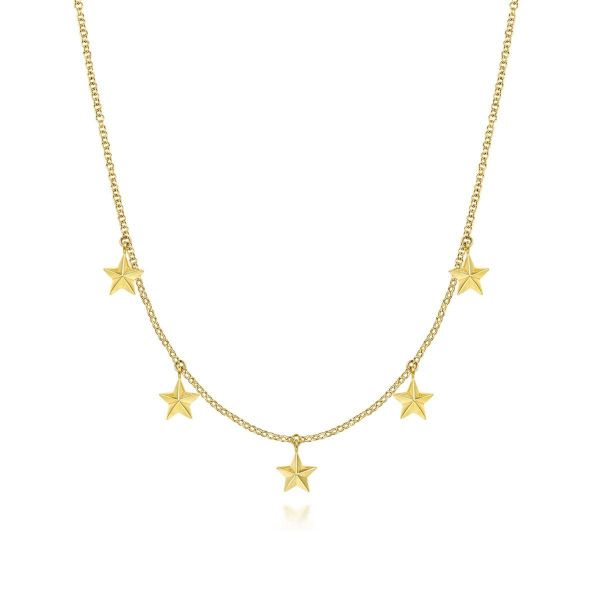 Yellow Gold Star Drop Station Necklace SVS Fine Jewelry Oceanside, NY