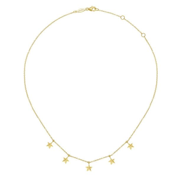Yellow Gold Star Drop Station Necklace Image 2 SVS Fine Jewelry Oceanside, NY