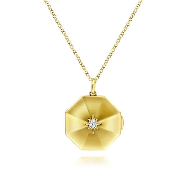 Yellow Gold Octagonal Locket Necklace with Diamond Star Center SVS Fine Jewelry Oceanside, NY