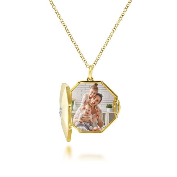 Yellow Gold Octagonal Locket Necklace with Diamond Star Center Image 2 SVS Fine Jewelry Oceanside, NY