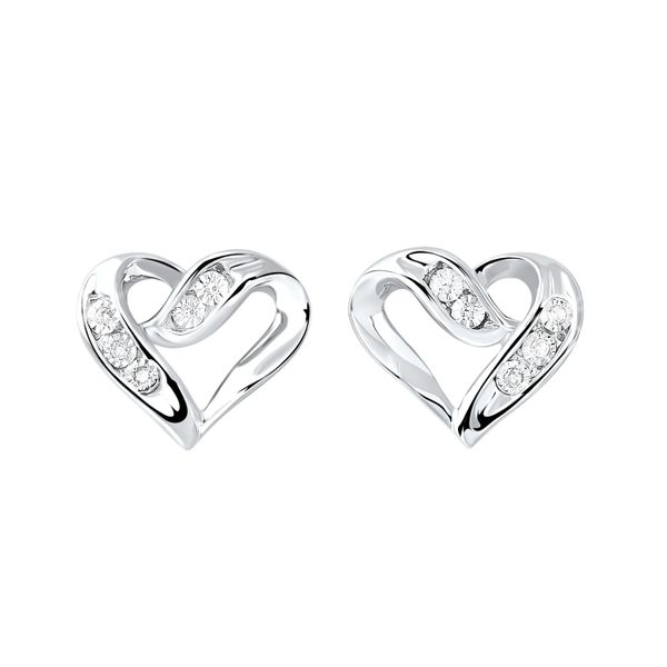 Diamond Open Ribbon Heart Stud Earrings SVS Fine Jewelry Oceanside, NY