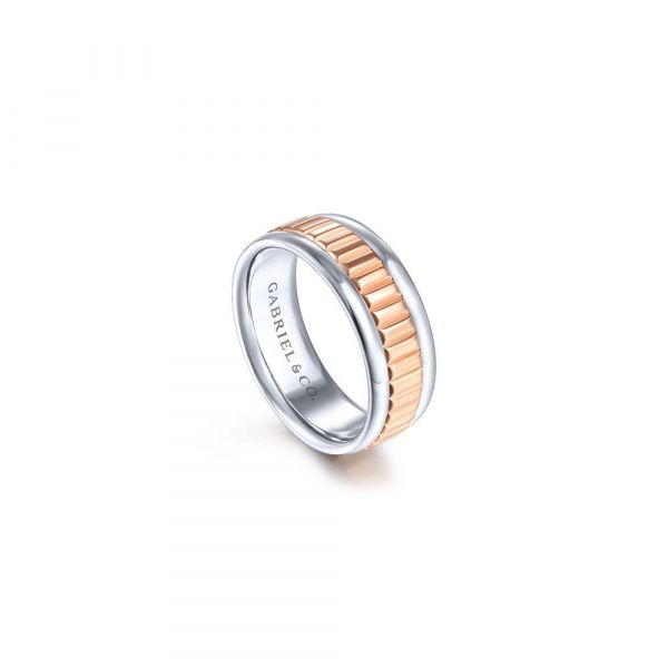 Gabriel & Co. Ridged Center Men's Wedding Band Image 3 SVS Fine Jewelry Oceanside, NY