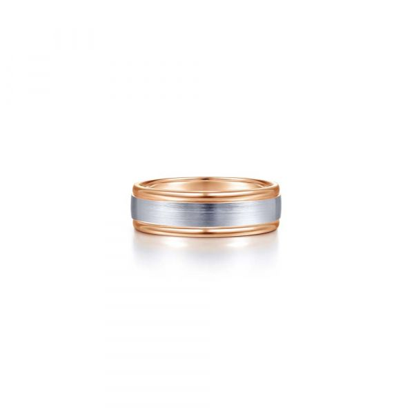 Gabriel & Co. Satin Finish Center and Polished Edge Men's Wedding Band SVS Fine Jewelry Oceanside, NY