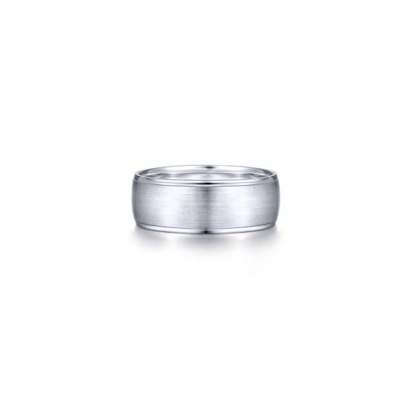 Gabriel & Co. Satin Center and Polished Edge Men's Wedding Band SVS Fine Jewelry Oceanside, NY