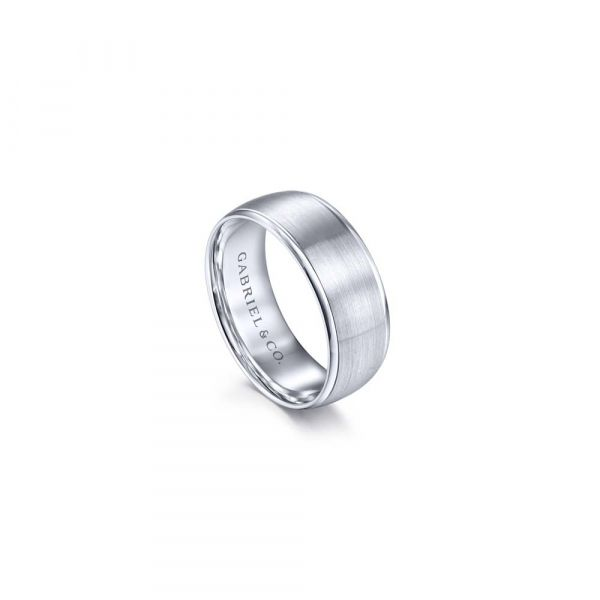 Gabriel & Co. Satin Center and Polished Edge Men's Wedding Band Image 3 SVS Fine Jewelry Oceanside, NY
