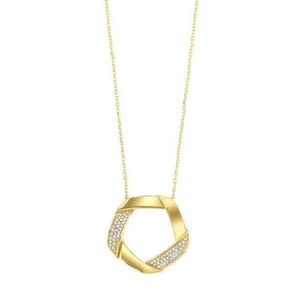Yellow Gold Interlocking Diamond Necklace SVS Fine Jewelry Oceanside, NY