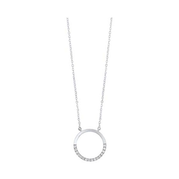 Diamond Pave Half-Eternity Circle Necklace SVS Fine Jewelry Oceanside, NY