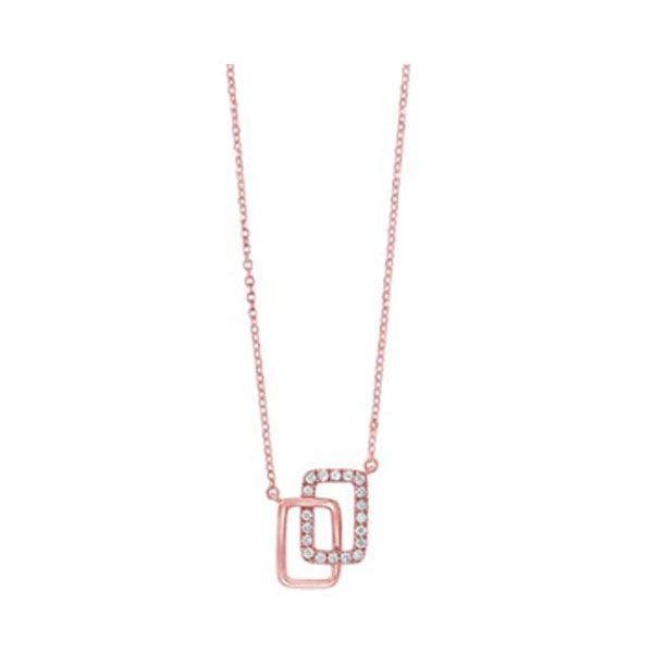 Diamond Double Eternity Rectangle Necklace SVS Fine Jewelry Oceanside, NY