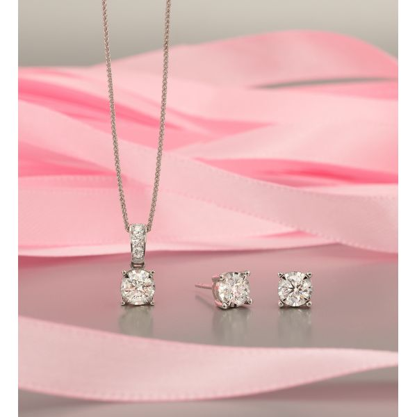 Tru Reflection Diamond Solitaire Necklace Image 2 SVS Fine Jewelry Oceanside, NY