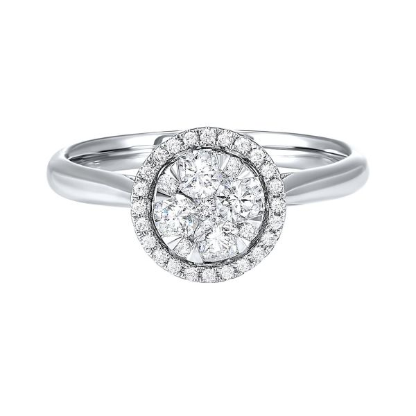 Diamond Starbright Halo Round Cluster Ring SVS Fine Jewelry Oceanside, NY