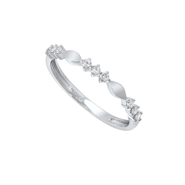 Diamond 3-Stone Marquise Pattern Stackable Ring Image 3 SVS Fine Jewelry Oceanside, NY