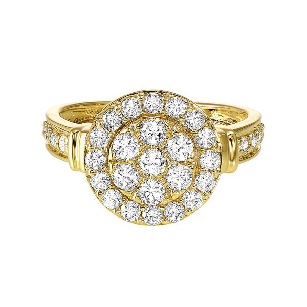 Yellow Gold Diamond Studded Halo Ring SVS Fine Jewelry Oceanside, NY