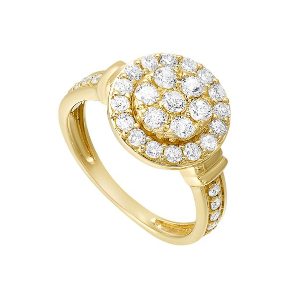 Yellow Gold Diamond Studded Halo Ring Image 2 SVS Fine Jewelry Oceanside, NY