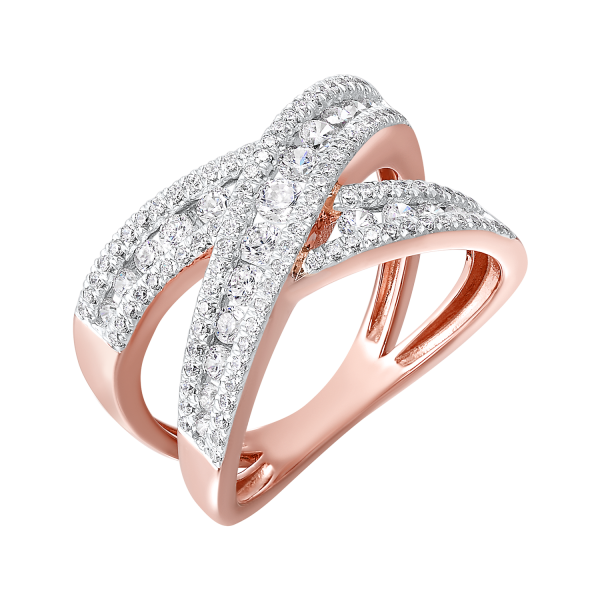 Diamond Double Crossover Ring SVS Fine Jewelry Oceanside, NY