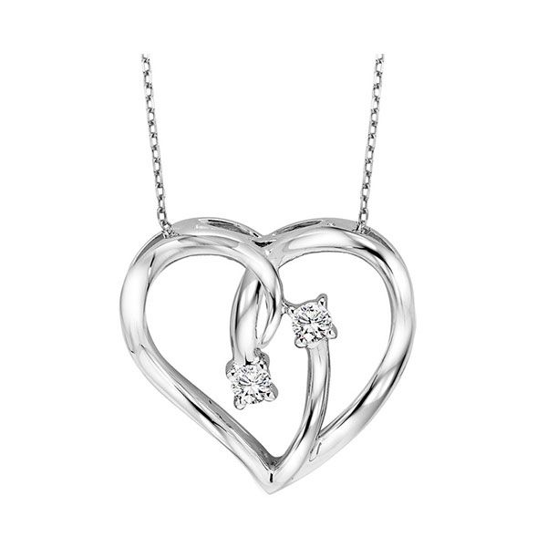 Diamond 2-Stone Open Ribbon Heart Necklace SVS Fine Jewelry Oceanside, NY