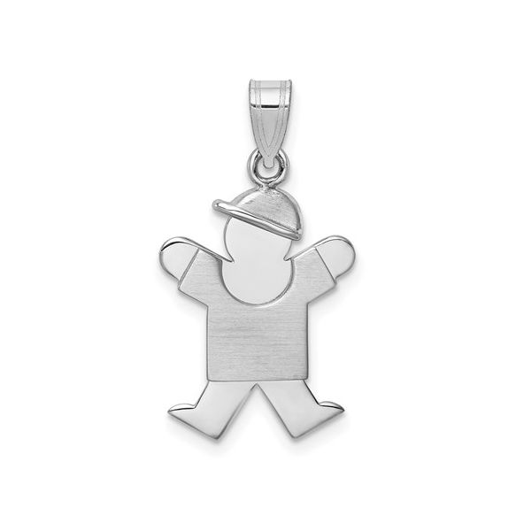 14k White Gold Small Boy With Hat On Right Engravable Charm SVS Fine Jewelry Oceanside, NY