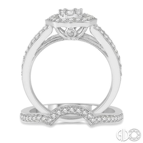 7/8 ctw Diamond Wedding Set With 3/4 ctw Baguette & Round Cut Diamond Engagement Ring and 1/5 ctw Wedding Band in 14K White Gold Image 3 Trinity Diamonds Inc. Tucson, AZ