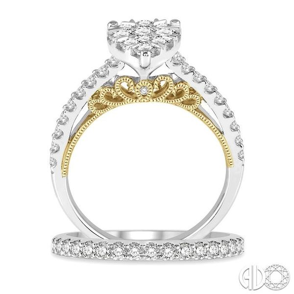 1 1/3 Ct Diamond Lovebright Wedding Set with 1 1/10 Ctw Pear Shape Engagement Ring in White and Yellow Gold & 1/3 Ct Wedding Ban Image 3 Trinity Diamonds Inc. Tucson, AZ