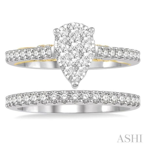 1 Ctw Diamond Lovebright Wedding Set with 3/4 Ctw Pear Shape Engagement Ring in White and Yellow Gold and 1/4 Ctw Wedding Band i Image 2 Trinity Diamonds Inc. Tucson, AZ