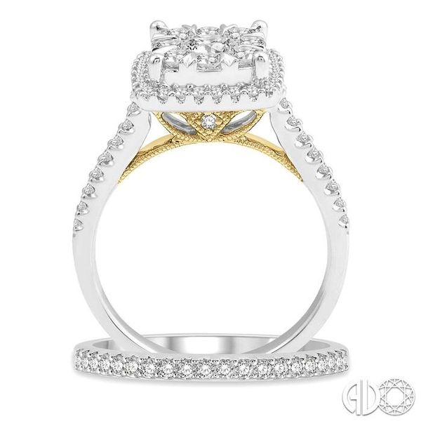 1 1/4 ct Lovebright Diamond Wedding Set With 1 1/10 ct Square Shape Engagement Ring in White and Yellow Gold & 1/5ct Wedding Ban Image 3 Trinity Diamonds Inc. Tucson, AZ