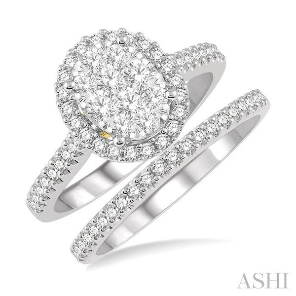 1 Ctw Lovebright Diamond Wedding Set in 14K With 3/4 Ctw Oval Shape Engagement Ring in White and Yellow Gold and 1/5 Ctw Wedding Trinity Diamonds Inc. Tucson, AZ