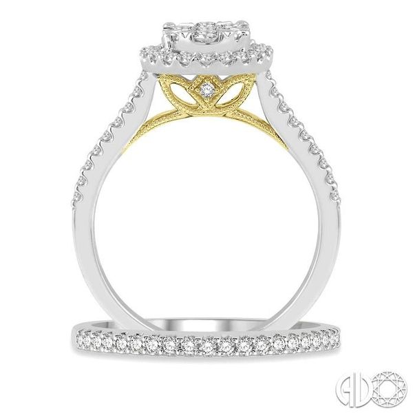 1 Ctw Lovebright Diamond Wedding Set in 14K With 3/4 Ctw Oval Shape Engagement Ring in White and Yellow Gold and 1/5 Ctw Wedding Image 3 Trinity Diamonds Inc. Tucson, AZ