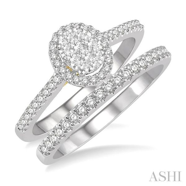 1/2 Ctw Lovebright Diamond Wedding Set in 14K With 1/3 Ctw Oval Shape Engagement Ring in White and Yellow Gold and 1/6 Ctw Weddi Trinity Diamonds Inc. Tucson, AZ