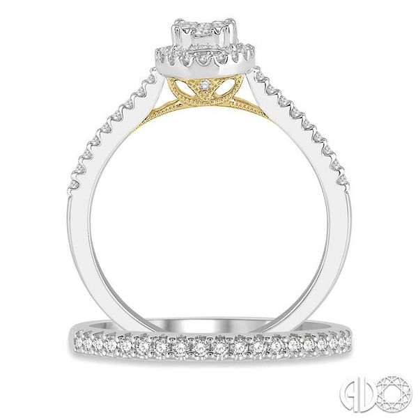 1/2 Ctw Lovebright Diamond Wedding Set in 14K With 1/3 Ctw Oval Shape Engagement Ring in White and Yellow Gold and 1/6 Ctw Weddi Image 3 Trinity Diamonds Inc. Tucson, AZ