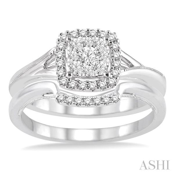 3/8 Ctw Diamond Lovebright Wedding Set with 1/3 Ctw Engagement Ring and 1/20 Ctw Wedding Band in 14K White Gold Image 2 Trinity Diamonds Inc. Tucson, AZ