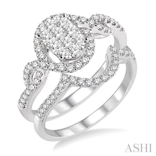 3/4 Ctw Diamond Lovebright Wedding Set with 5/8 Ctw Engagement Ring and 1/6 Ctw Wedding Band in 14K White Gold Trinity Diamonds Inc. Tucson, AZ