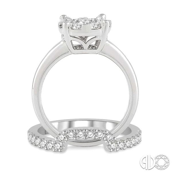 1 ctw Lovebright Round Cut Diamond Wedding Set With 3/4 ctw Circular Engagement Ring and 1/3 ctw U-Shape Center Wedding Band in  Image 3 Trinity Diamonds Inc. Tucson, AZ