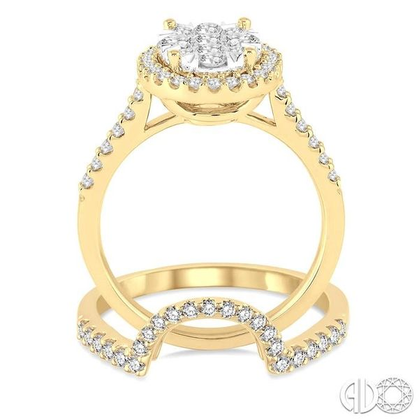 1 1/4 Ctw Oval Shape Diamond Lovebright Wedding Set with 1 Ctw Engagement Ring and 1/4 Ctw Wedding Band in 14K Yellow and White  Image 3 Trinity Diamonds Inc. Tucson, AZ