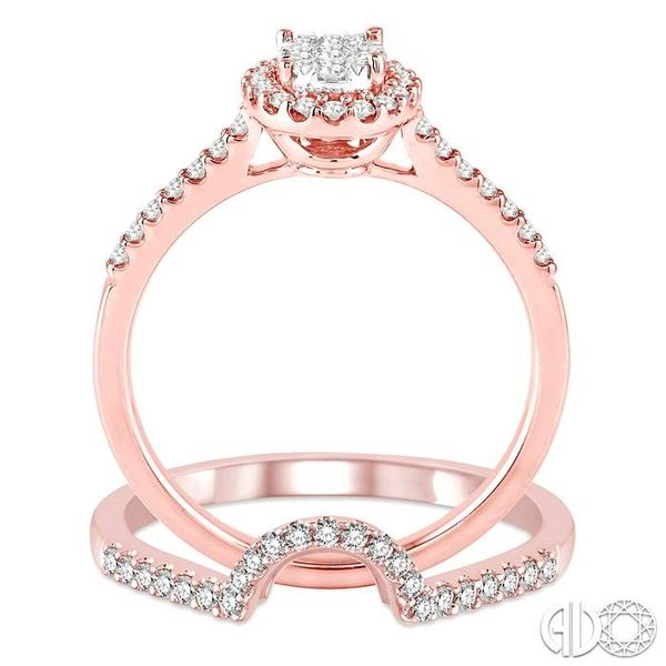 1/2 Ctw Oval Shape Diamond Lovebright Wedding Set with 1/3 Ctw Engagement Ring and 1/6 Ctw Wedding Band in 14K Rose and White Go Image 3 Trinity Diamonds Inc. Tucson, AZ