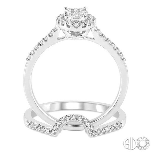 1/2 Ctw Oval Shape Diamond Lovebright Wedding Set with 1/3 Ctw Engagement Ring and 1/6 Ctw Wedding Band in 14K White Gold Image 3 Trinity Diamonds Inc. Tucson, AZ