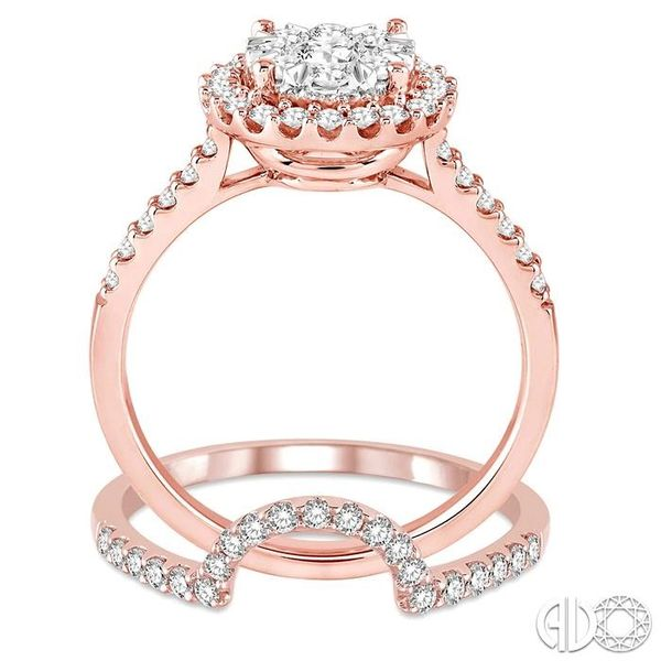 1 Ctw Round Shape Diamond Lovebright Wedding Set with 3/4 Ctw Engagement Ring and 1/4 Ctw Wedding Band in 14K Rose and White Gol Image 3 Trinity Diamonds Inc. Tucson, AZ