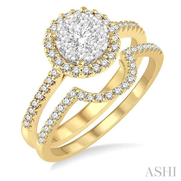 3/4 Ctw Round Shape Diamond Lovebright Wedding Set with 1/2 Ctw Engagement Ring and 1/5 Ctw Wedding Band in 14K Yellow and White Trinity Diamonds Inc. Tucson, AZ