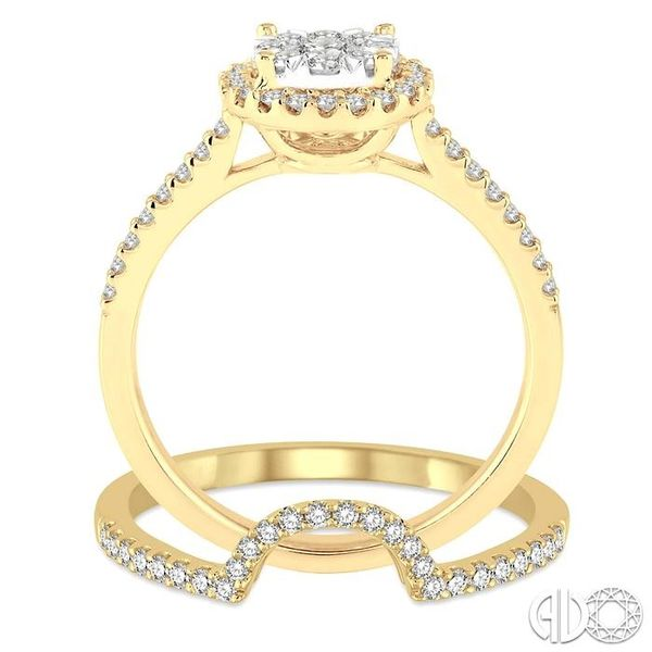 3/4 Ctw Round Shape Diamond Lovebright Wedding Set with 1/2 Ctw Engagement Ring and 1/5 Ctw Wedding Band in 14K Yellow and White Image 3 Trinity Diamonds Inc. Tucson, AZ