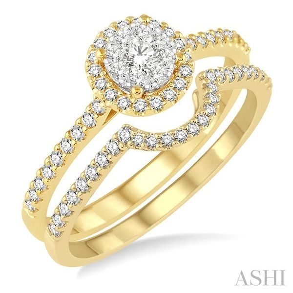 1/2 Ctw Round Shape Diamond Lovebright Wedding Set with 1/3 Ctw Engagement Ring and 1/6 Ctw Wedding Band in 14K Yellow and White Trinity Diamonds Inc. Tucson, AZ