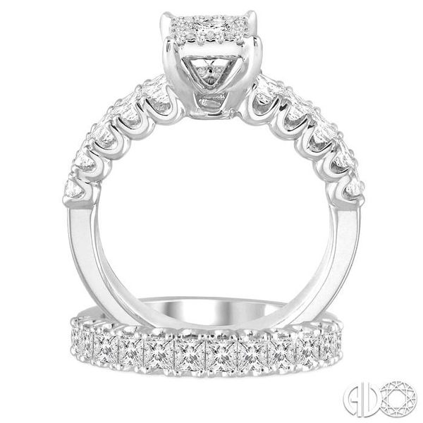 1 5/8 Ctw Lovebright Diamond Wedding Set With 1 Ctw Princess Shape Engagement Ring and 3/4 Ctw Princess Cut Wedding Band in 14K  Image 3 Trinity Diamonds Inc. Tucson, AZ