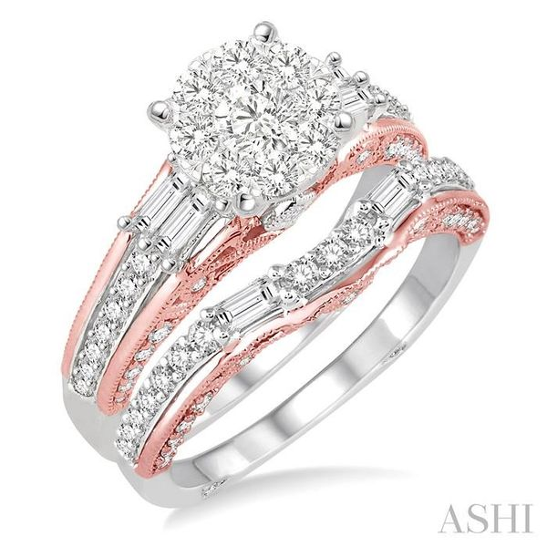 1 1/3 Ctw Diamond Lovebright Wedding Set with 1 Ctw Engagement Ring inRose & White Gold and 1/3 Ctw Wedding Band inRose Gold in  Trinity Diamonds Inc. Tucson, AZ