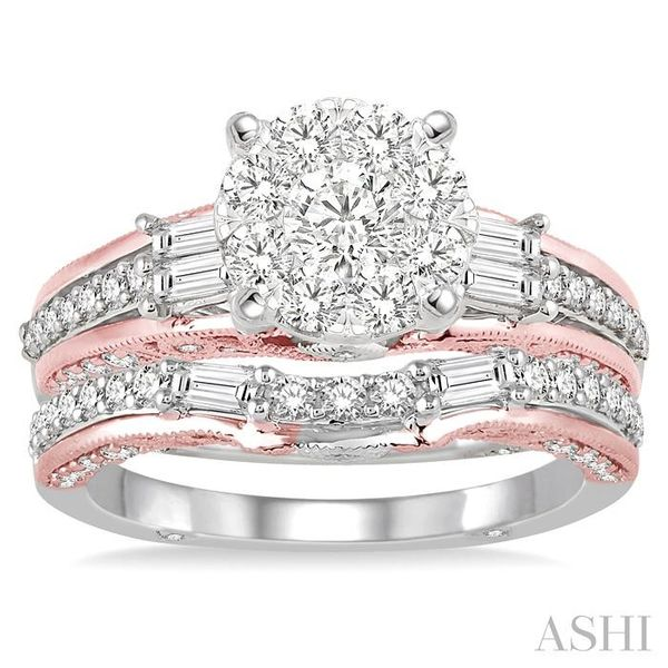 1 1/3 Ctw Diamond Lovebright Wedding Set with 1 Ctw Engagement Ring inRose & White Gold and 1/3 Ctw Wedding Band inRose Gold in  Image 2 Trinity Diamonds Inc. Tucson, AZ