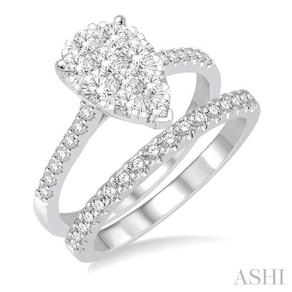 1 1/10 Ctw Diamond Lovebright Wedding Set With 3/4 Ctw Pear Shape Engagement Ring and 1/4 Ctw Wedding Band in 14K White Gold Trinity Diamonds Inc. Tucson, AZ